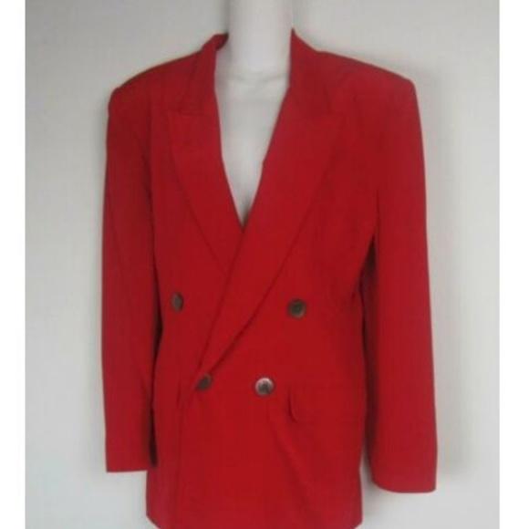 Hugo Buscati Jackets & Blazers - Hugo Buscati Red Smooth Silk Double Breast Blazer